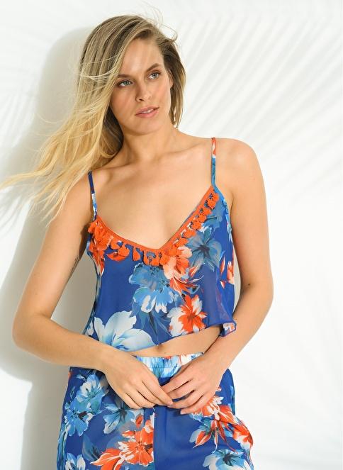 Morhipo Beach Çiçek Desenli Bluz Mavi